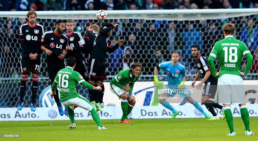 Zlatko Junuzovic of Bremen scores the 2nd goal during the Bundesliga match between SV Werder Bremen and Bayer 04 Leverkusen at Weserstadion on...