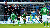 Zlatko Junuzovic of Bremen scores the 2nd goal during the Bundesliga match between SV Werder Bremen and Bayer 04 Leverkusen at Weserstadion on...