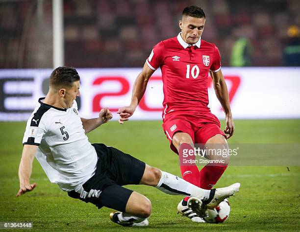 Zlatko Junuzovic of Serbia in action against Kevin Wimmer of Austria the FIFA 2018 World Cup Qualifier between Serbia and Austria at stadium Rajko...