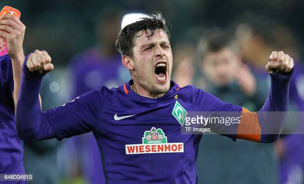 Zlatko Junuzovic of Werder Bremen celebrate their win after the Bundesliga match between VfL Wolfsburg and Werder Bremen at Volkswagen Arena on...