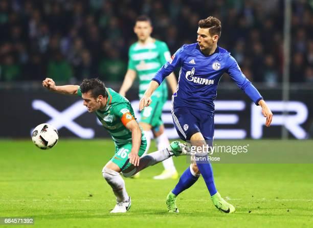 Zlatko Junuzovic of Werder Bremen is challenegd by Leon Goretzka of Schalke 04during the Bundesliga match between Werder Bremen and FC Schalke 04 at...