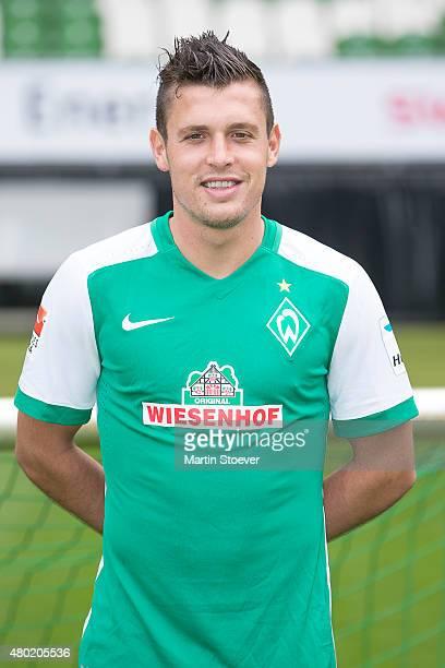 Zlatko Junuzovic poses during the official team presentation of Werder Bremen at Weserstadion on July 10 2015 in Bremen Germany