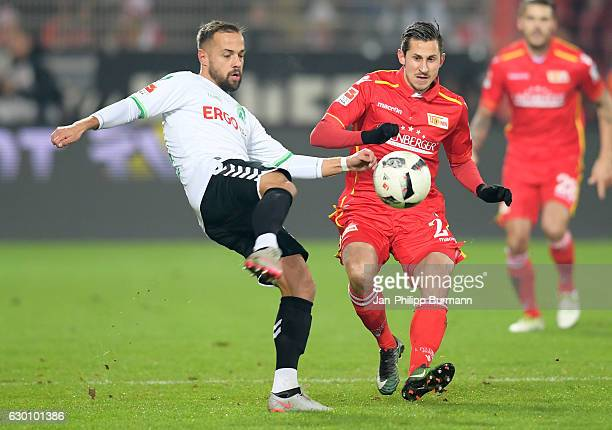 Zlatko Tripic of SpVgg Greuther Fuerth and Steven Skrzybski of 1FC Union Berlin duel for the ball during the Second Bundesliga match between 1 FC...