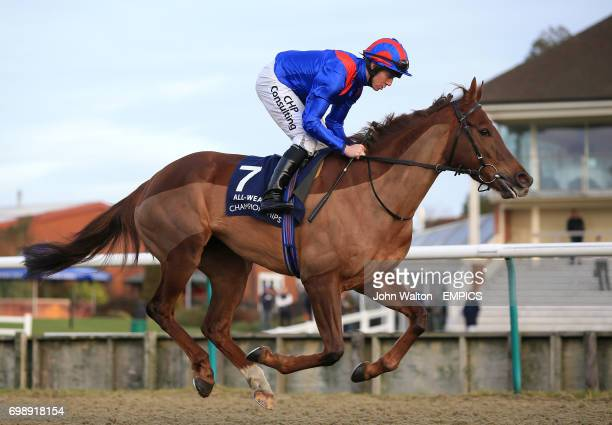 Zman Awal ridden by jockey Jim Crowley going to post before the 32Red Fillies' Handicap