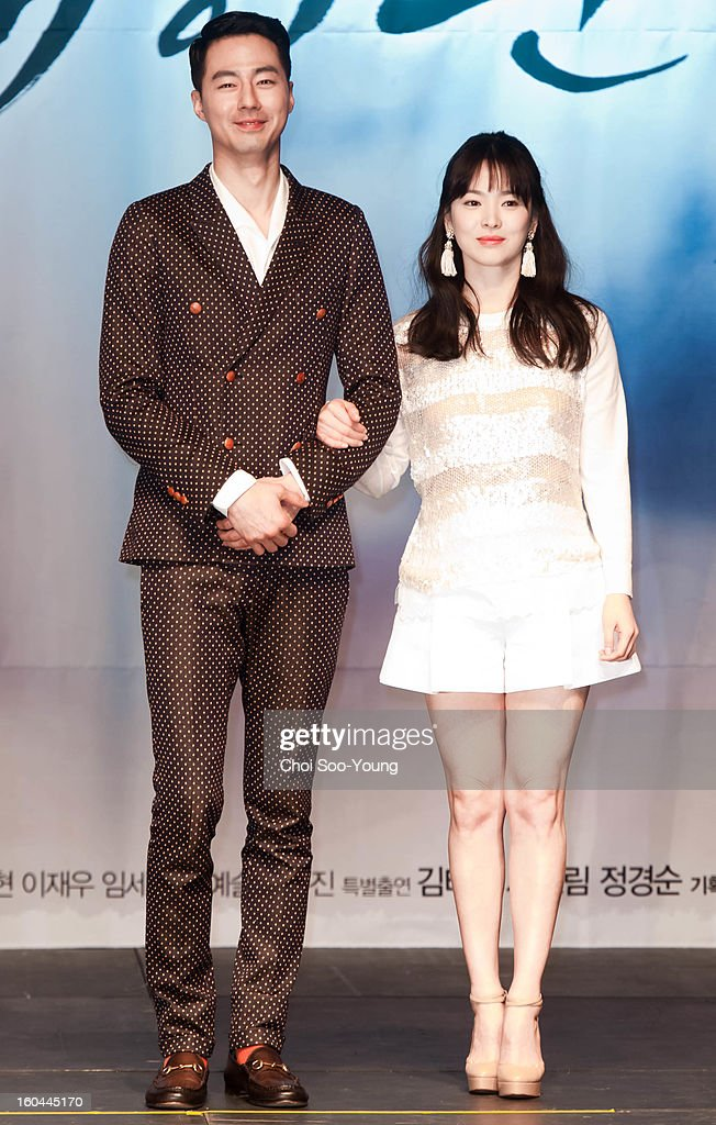 Zo In-Sung and Song Hye-Kyo attend the SBS Drama 'Wind Blow In Winter' press conference at Blue Square on January 31, 2013 in Seoul, South Korea.