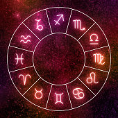 Zodiac circle. Shining zodiac signs against red space sky and stars.