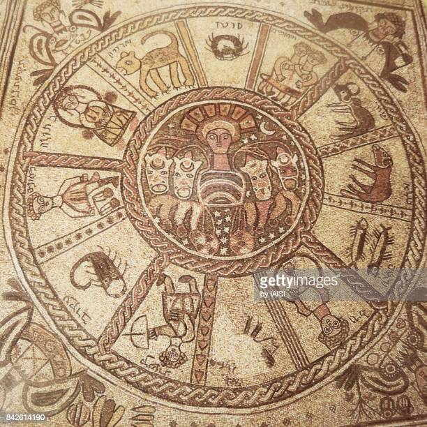 Zodiac on the mosaic floor of a Byzantine-era Synagogue in Beit Alpha, northern Israel