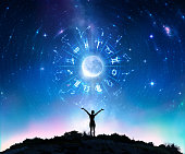 Woman Consulting The Stars - Zodiac Signs In The Sky - Contain Illustration And elements furnished by NASA