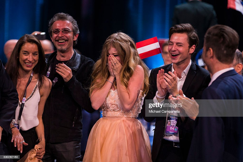 Zoe and her team representing Austria celebrate qualifying for the finals of the 2016 Eurovision Song Contest at Ericsson Globe Arena on May 10 2016...