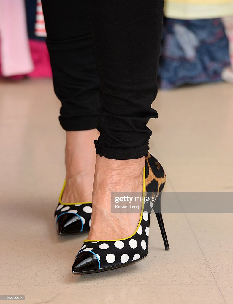 Zoe Ball (Shoe detail) attends a photocall to launch the M&S 'Love, Mum' shwopping campaign in conjunction with Oxfam at Marks & Spencer Marble Arch on February 4, 2014 in London, England.