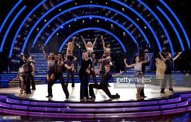 Zoe Ball dances with Kevin Clifton and other dancers during a photocall to launch the Strictly Come Dancing Live Tour 2015 at Birmingham Barclaycard...