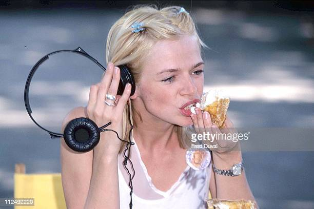 Zoe Ball during Fish and Chips Fan Club Launch July 1 1996 at Upper Street Fish Shop in London United Kingdom