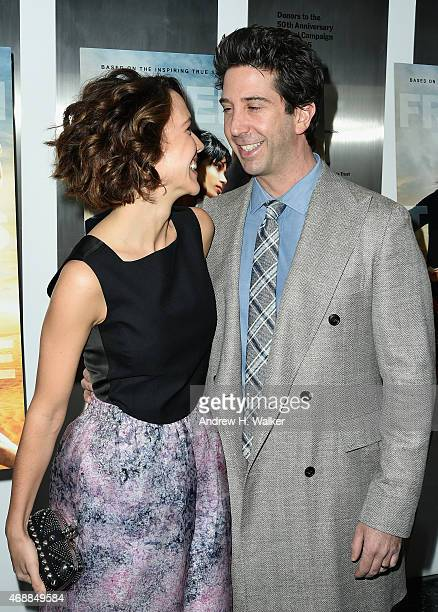 Zoe Buckman and actor David Schwimmer attend the special screening of Relativity Studio's 'Desert Dancer' at Museum of Modern Art on April 7 2015 in...