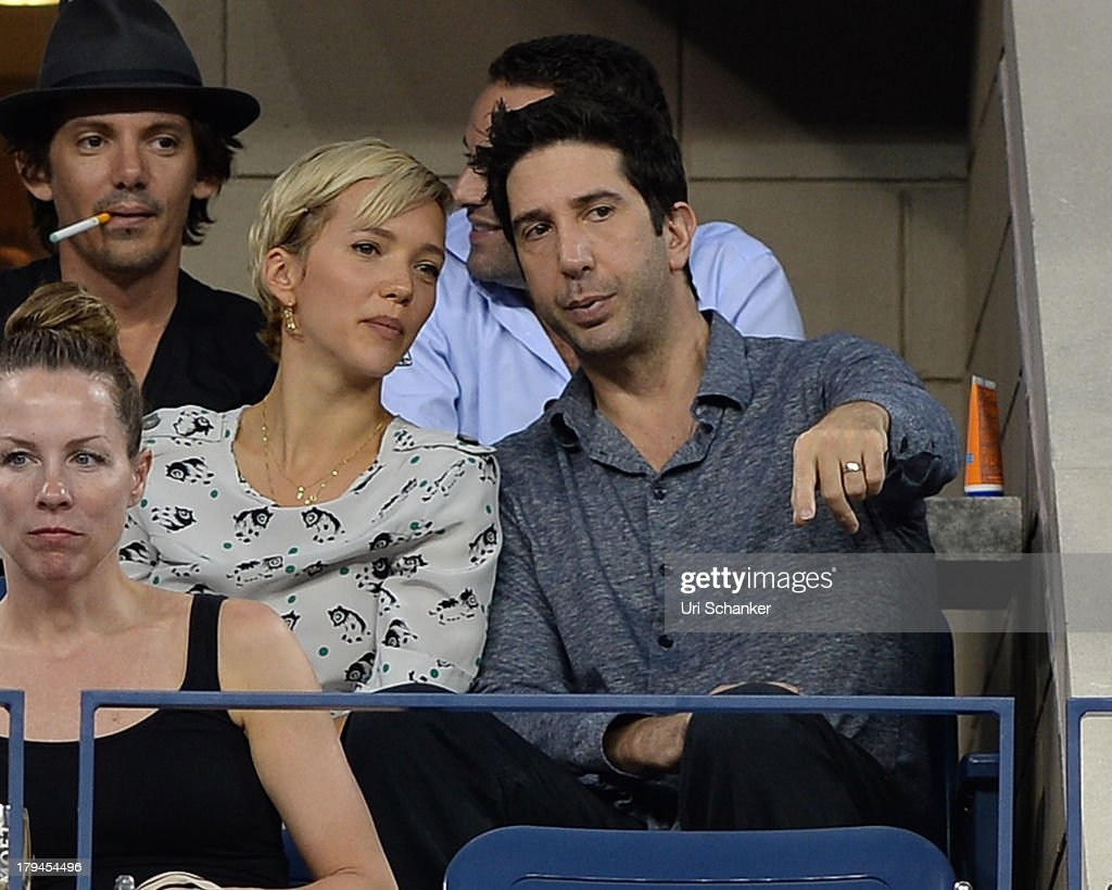 Zoe Buckman and <a gi-track='captionPersonalityLinkClicked' href=/galleries/search?phrase=David+Schwimmer&family=editorial&specificpeople=206148 ng-click='$event.stopPropagation()'>David Schwimmer</a> attends the 2013 US Open at USTA Billie Jean King National Tennis Center on September 3, 2013 in New York City.