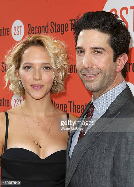 Zoe Buckman and David Schwimmer attends the OffBroadway Opening Night of 'Sex with Strangers' at the Second Stage Theatre on July 30 2014 in New York...
