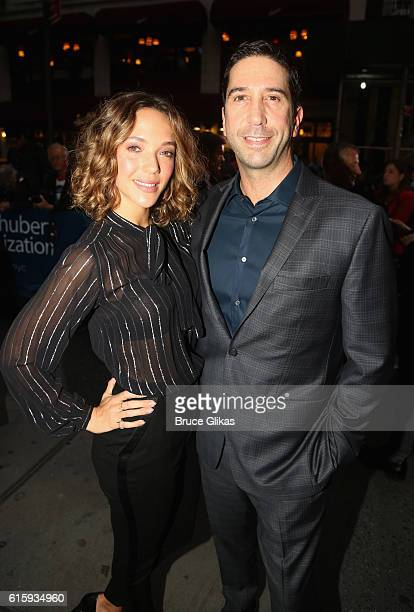 Zoe Buckman and husband David Schwimmer pose at the opening night of 'The Front Page' on Broadway at The Broadhurst Theatre on October 20 2016 in New...