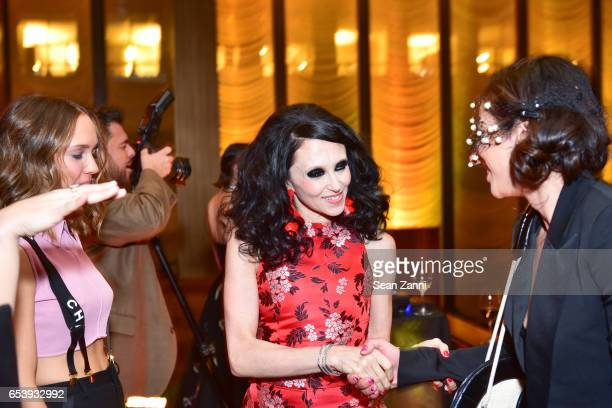 Zoe Buckman Stacey Bendet Eisner and Shari Loeffler attend Art Production Fund's Bright Lights Big City Gala at Seagram Building on March 13 2017 in...