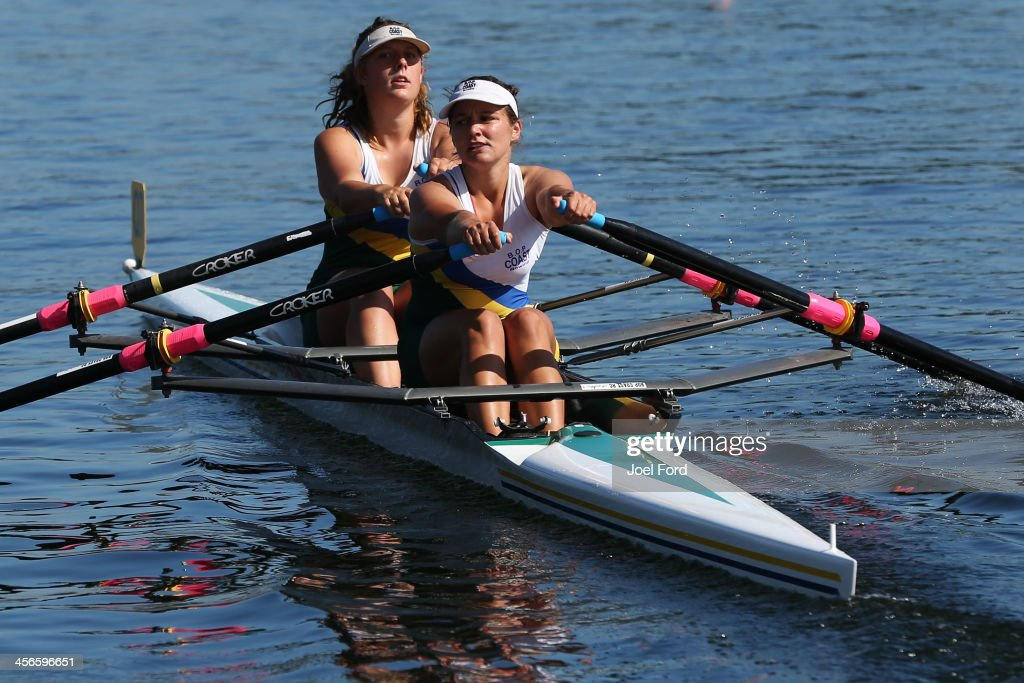 Zoe D'Ath and Nicola Baker of Bay of Plenty Coast Rowing Club compete in the girls U18 double sculls final during the Christmas Regatta 1 at Lake Karapiro on December 15, 2013 in Cambridge, New Zealand.