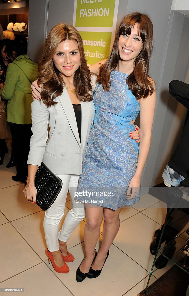 Zoe Hardman (L) and Laura Jackson attend the Panasonic Technics 'Shop To The Beat' Party hosted by George Lamb at French Connection, Oxford Circus, on March 13, 2013 in London, England.