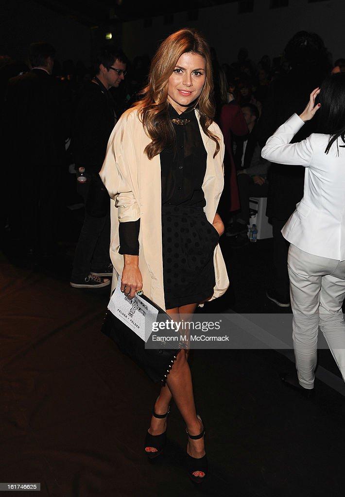 Zoe Hardman attends the Felder Felder show during London Fashion Week Fall/Winter 2013/14 at Somerset House on February 15, 2013 in London, England.
