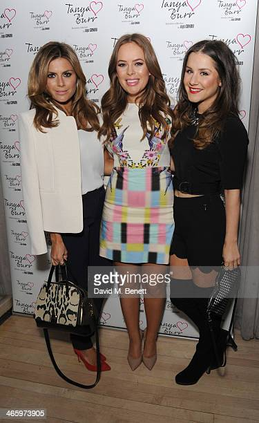 Zoe Hardman Tanya Burr and Electra Formosa attends the launch of Tanya Burr by eye CANDY an exclusive collection of lip glosses and nail polishes at...