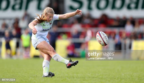 Zoe Harrison of Saracens Women scores a conversion during the Tyrrells Premier 15 at The Memorial Ground on September 16 2017 in Liverpool England