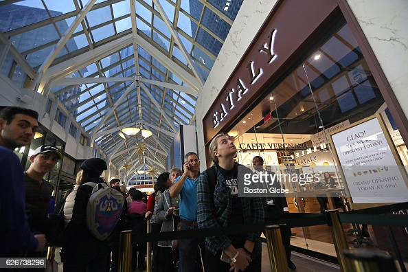 Zoe Karavolis right foreground a Northeastern University student was first in line for today's official opening of Eataly in the Prudential Center in...