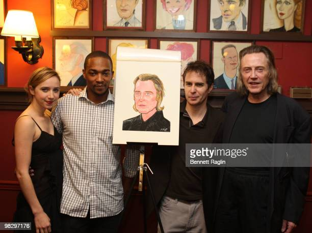 Zoe Kazan Anthony Mackie Sam Rockwell and Christopher Walken attend the unveiling of Christopher Walken's caricature at Sardi's on April 6 2010 in...