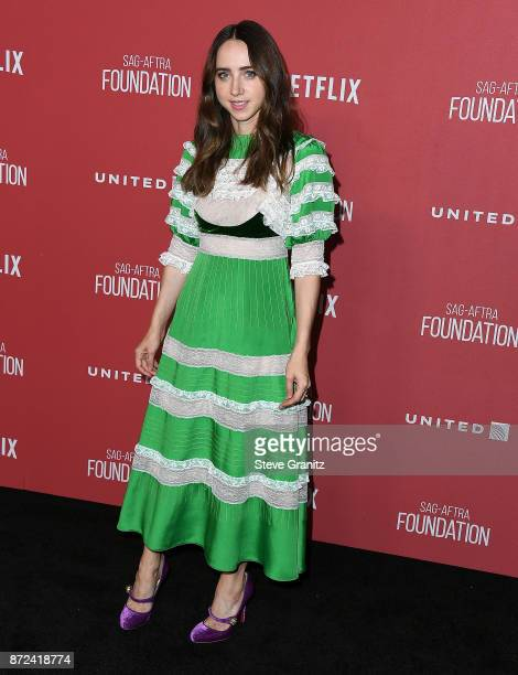 Zoe Kazan arrives at the SAGAFTRA Foundation Patron of the Artists Awards 2017 on November 9 2017 in Beverly Hills California