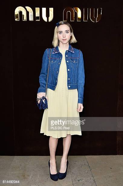 Zoe Kazan attends the Miu Miu show as part of the Paris Fashion Week Womenswear Fall / Winter 2016 on March 9 2016 in Paris France