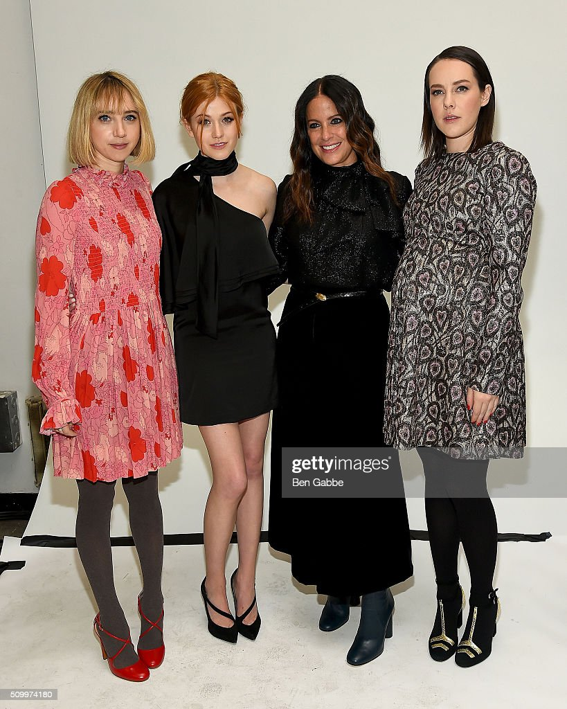 <a gi-track='captionPersonalityLinkClicked' href=/galleries/search?phrase=Zoe+Kazan&family=editorial&specificpeople=3953779 ng-click='$event.stopPropagation()'>Zoe Kazan</a>, <a gi-track='captionPersonalityLinkClicked' href=/galleries/search?phrase=Katherine+McNamara&family=editorial&specificpeople=6829207 ng-click='$event.stopPropagation()'>Katherine McNamara</a>, Jill Stuart and <a gi-track='captionPersonalityLinkClicked' href=/galleries/search?phrase=Jena+Malone&family=editorial&specificpeople=216548 ng-click='$event.stopPropagation()'>Jena Malone</a> backstage at the Jill Stuart fashion show during Fall 2016 New York Fashion Week at Industria Superstudio on February 13, 2016 in New York City.