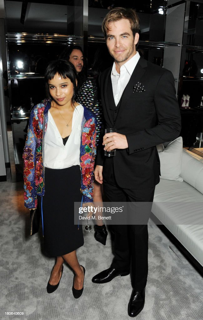 Zoe Kravitz (L) and <a gi-track='captionPersonalityLinkClicked' href=/galleries/search?phrase=Chris+Pine&family=editorial&specificpeople=641995 ng-click='$event.stopPropagation()'>Chris Pine</a> attend the launch of the new Tom Ford London flagship store on Sloane Street on September 15, 2013 in London, England.