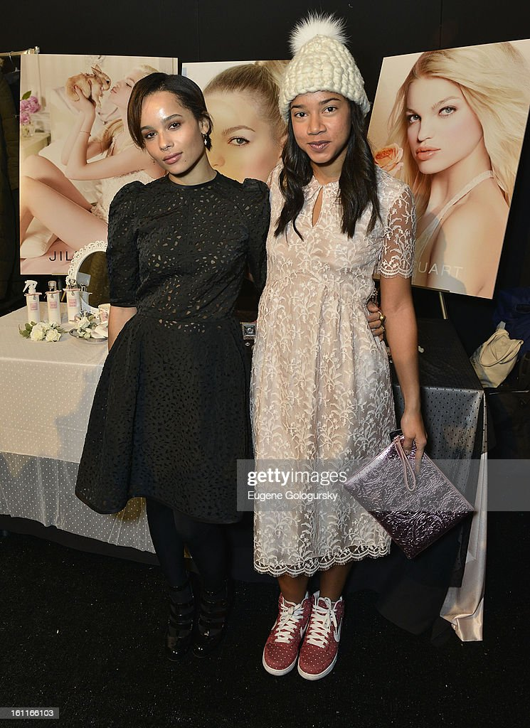 Zoe Kravitz and Hannah Bronfman attend Jill Stuart during Fall 2013 Mercedes-Benz Fashion Week at The Stage at Lincoln Center on February 9, 2013 in New York City.