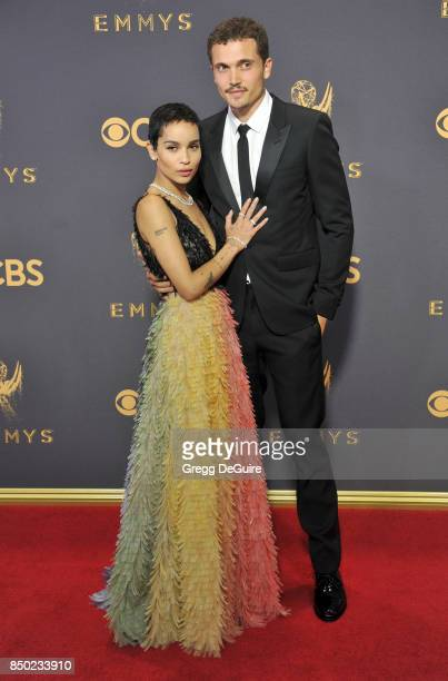 Zoe Kravitz and Karl Glusman arrive at the 69th Annual Primetime Emmy Awards at Microsoft Theater on September 17 2017 in Los Angeles California
