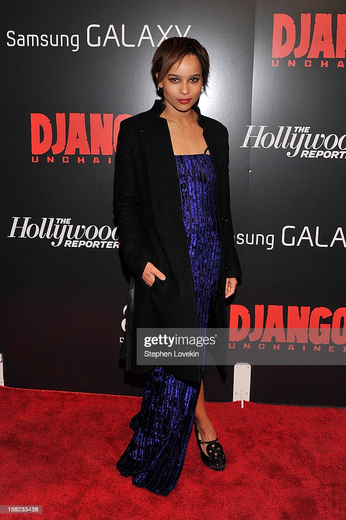 Zoe Kravitz attends a screening of 'Django Unchained' hosted by The Weinstein Company with The Hollywood Reporter, Samsung Galaxy and The Cinema Society at Ziegfeld Theater on December 11, 2012 in New York City.