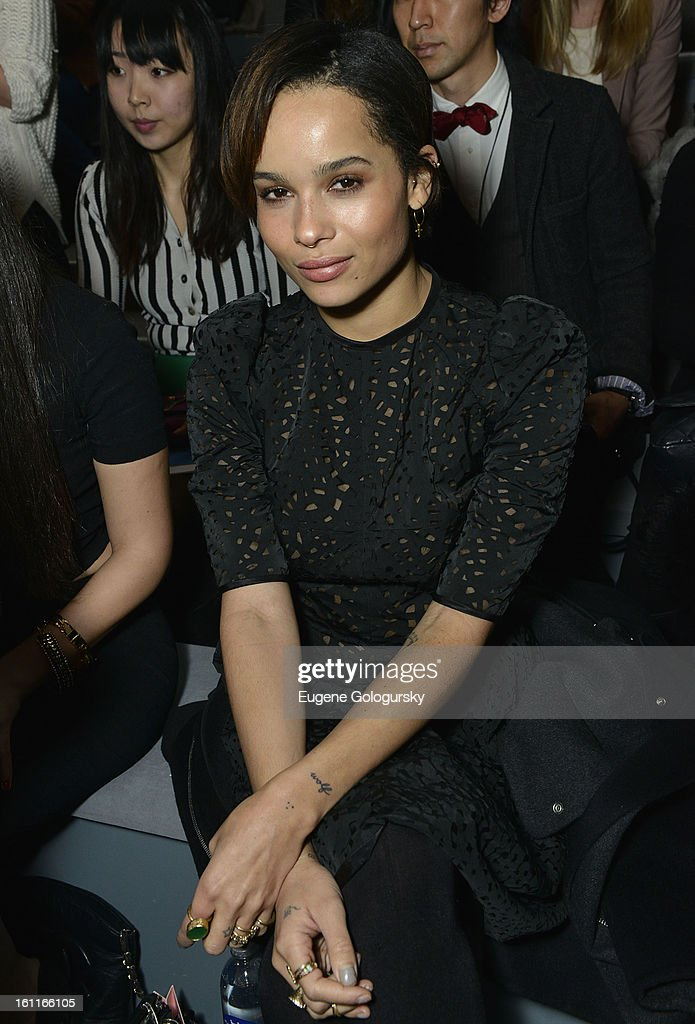 Zoe Kravitz attends Jill Stuart during Fall 2013 Mercedes-Benz Fashion Week at The Stage at Lincoln Center on February 9, 2013 in New York City.