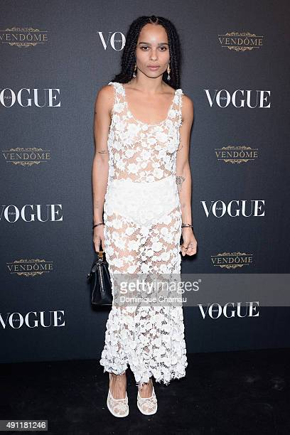 Zoe Kravitz attends the Vogue 95th Anniversary Party Photocall as part of the Paris Fashion Week Womenswear Spring/Summer 2016 on October 3 2015 in...