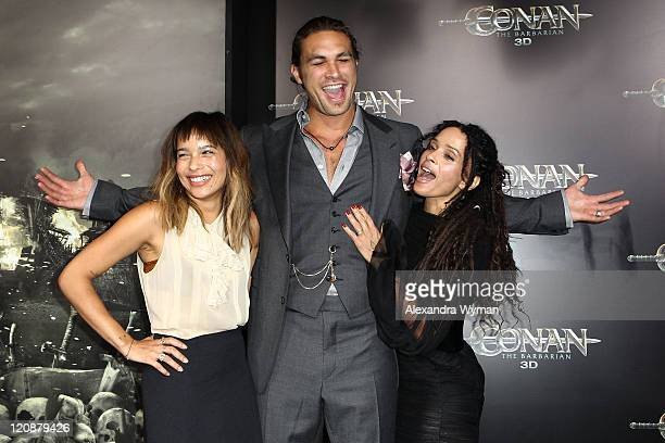 Zoe Kravitz Jason Momoa and Lisa Bonet attend the world premiere of 'Conan The Barbarian' held at Regal Cinemas LA Live on August 11 2011 in Los...