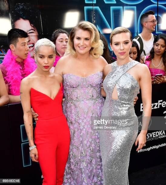 Zoe Kravitz Jillian Bell and Scarlett Johansson attend the 'Rough Night' New York Premeire at AMC Lincoln Square Theater on June 12 2017 in New York...