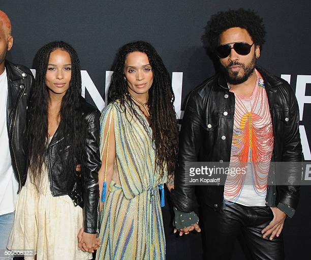 Zoe Kravitz Lisa Bonet and Lenny Kravitz arrive at SAINT LAURENT At The Palladium at Hollywood Palladium on February 10 2016 in Los Angeles California