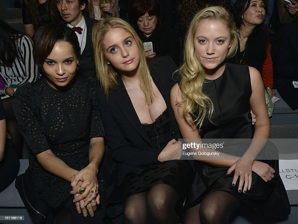 Zoe Kravitz, Sophie Curtis and <a gi-track='captionPersonalityLinkClicked' href=/galleries/search?phrase=Maika+Monroe&family=editorial&specificpeople=8716720 ng-click='$event.stopPropagation()'>Maika Monroe</a> attend Jill Stuart during Fall 2013 Mercedes-Benz Fashion Week at The Stage at Lincoln Center on February 9, 2013 in New York City.