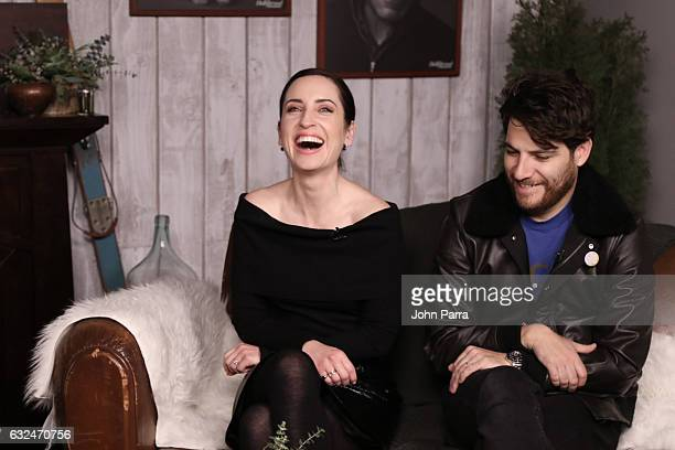 Zoe Lister Jones and Adam Pally are seen at The Hollywood Reporter 2017 Sundance Studio At Sky Strada Day 3 2017 Park City on January 22 2017 in Park...