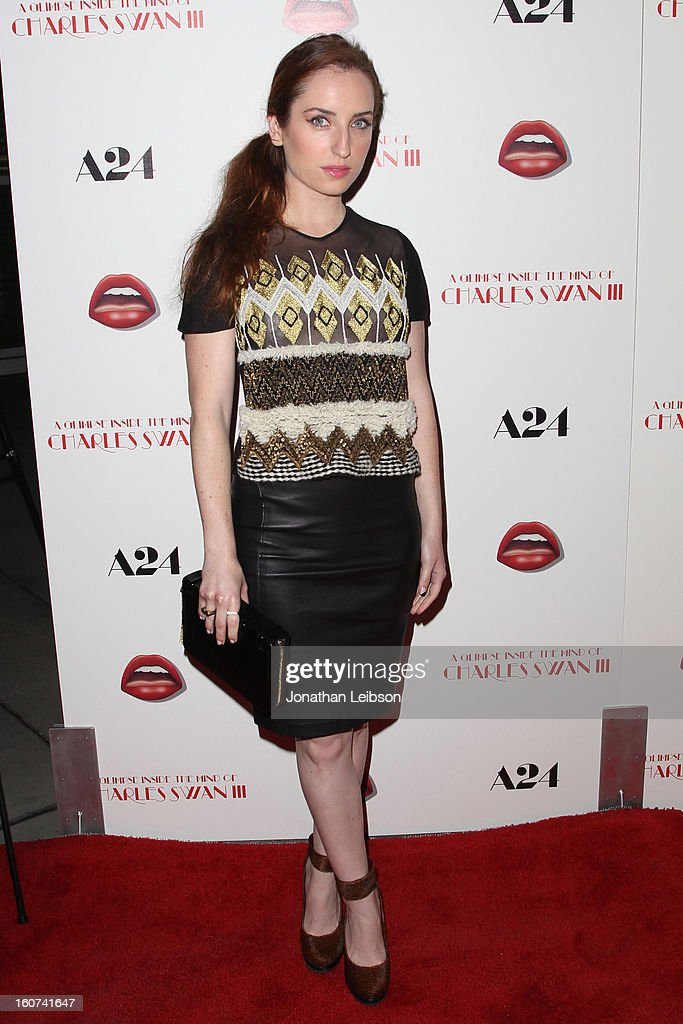 Zoe Lister-Jones attends the 'A Glimpse Inside The Mind Of Charlie Swan III' Los Angeles premiere at ArcLight Hollywood on February 4, 2013 in Hollywood, California.
