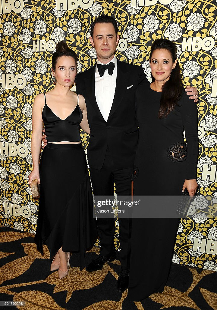 Zoe Lister-Jones, Colin Hanks and Angelique Cabral attend HBO's post 2016 Golden Globe Awards party at Circa 55 Restaurant on January 10, 2016 in Los Angeles, California.