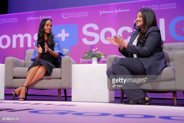 Zoe Saldana and Allergist and Immunologist Dr Purvi Parikh speak on a panel discussion at the 5th Annual Moms SocialGood event at AXA Event...