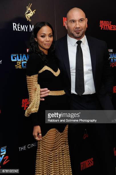 Zoe Saldana and Dave Bautista attends The Cinema Society Hosts A Screening Of Marvel Studios' 'Guardians Of The Galaxy Vol 2' Arrivals at the Whitby...