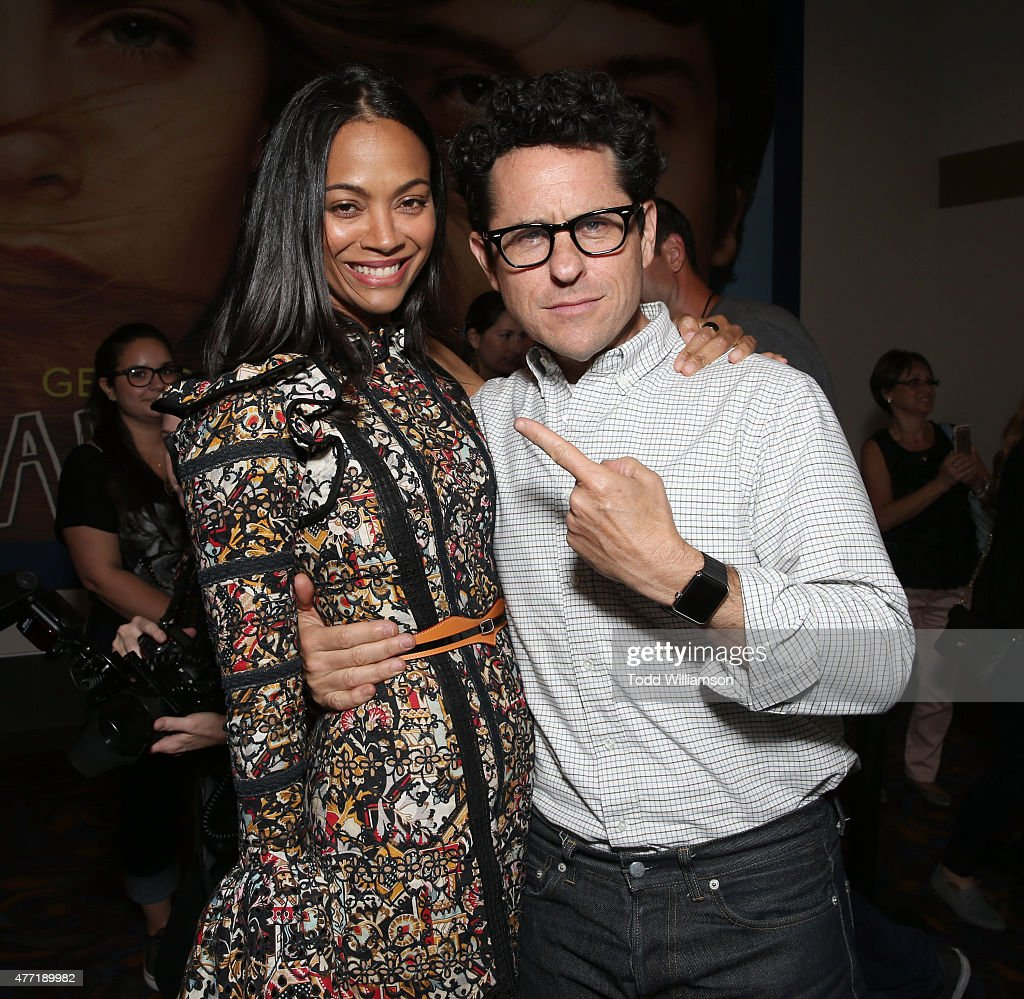 Zoe Saldana and Executive Producer J.J. Abrams attend the 2015 Los Angeles Film Festival Pemiere Of 'Infinitely Polar Bear' - Red Carpet at Regal Cinemas L.A. Live on June 14, 2015 in Los Angeles, California.