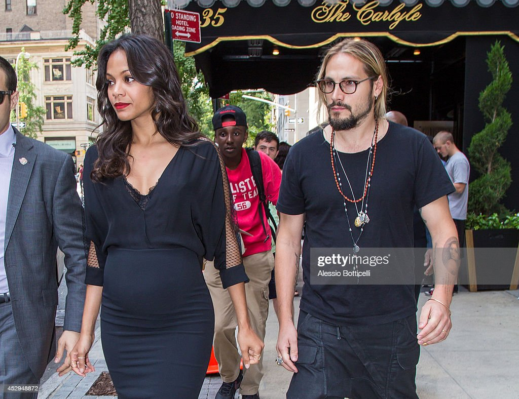<a gi-track='captionPersonalityLinkClicked' href=/galleries/search?phrase=Zoe+Saldana&family=editorial&specificpeople=542691 ng-click='$event.stopPropagation()'>Zoe Saldana</a> and husband <a gi-track='captionPersonalityLinkClicked' href=/galleries/search?phrase=Marco+Perego&family=editorial&specificpeople=3061782 ng-click='$event.stopPropagation()'>Marco Perego</a> are seen on July 30, 2014 in New York City.