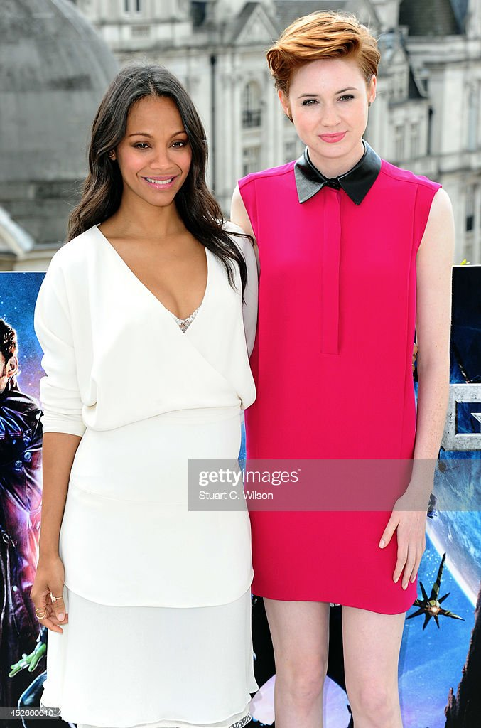 <a gi-track='captionPersonalityLinkClicked' href=/galleries/search?phrase=Zoe+Saldana&family=editorial&specificpeople=542691 ng-click='$event.stopPropagation()'>Zoe Saldana</a> and <a gi-track='captionPersonalityLinkClicked' href=/galleries/search?phrase=Karen+Gillan&family=editorial&specificpeople=6876471 ng-click='$event.stopPropagation()'>Karen Gillan</a> attends the 'Guardians of the Galaxy' photocall on July 25, 2014 in London, England.