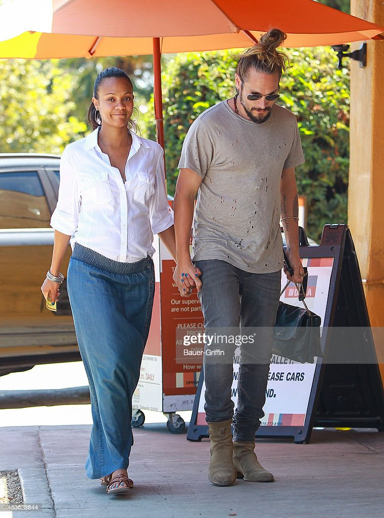 <a gi-track='captionPersonalityLinkClicked' href=/galleries/search?phrase=Zoe+Saldana&family=editorial&specificpeople=542691 ng-click='$event.stopPropagation()'>Zoe Saldana</a> and <a gi-track='captionPersonalityLinkClicked' href=/galleries/search?phrase=Marco+Perego&family=editorial&specificpeople=3061782 ng-click='$event.stopPropagation()'>Marco Perego</a> are seen on August 14, 2014 in Los Angeles, California.